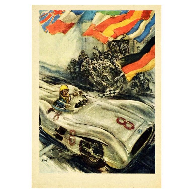 Original Vintage Poster Mercedes Benz Formula One Grand Prix Car Racing Victory For Sale