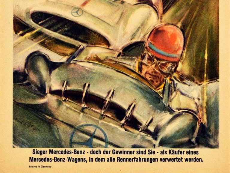 German Original Vintage Poster Mercedes Benz Italian Grand Prix 1954 Juan Manuel Fangio For Sale