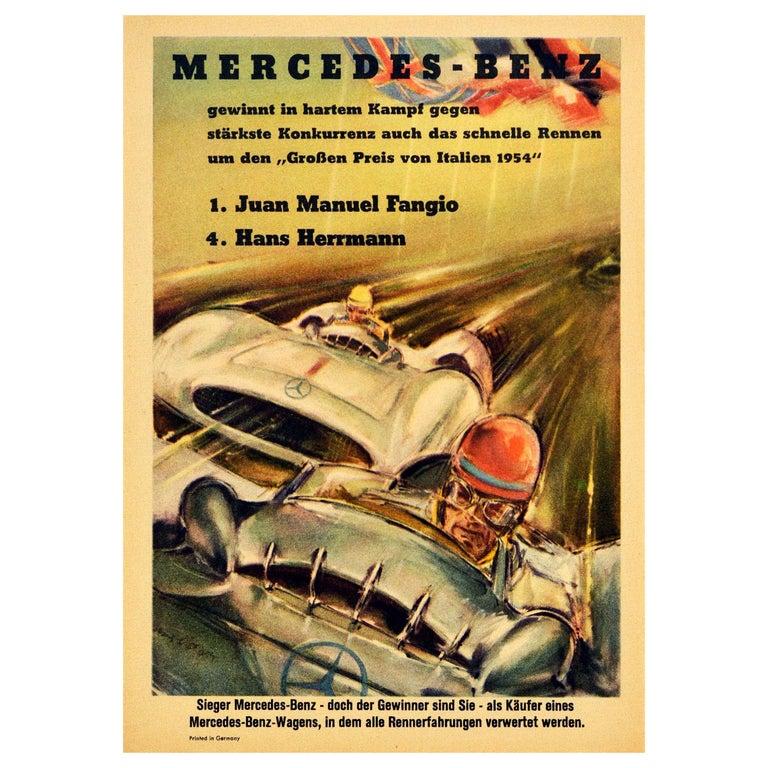 Original Vintage Poster Mercedes Benz Italian Grand Prix 1954 Juan Manuel Fangio For Sale
