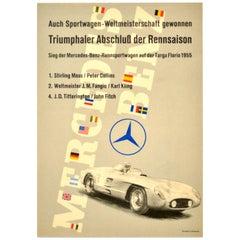 Original Vintage Poster Mercedes Benz Sports Car Racing Art Stirling Moss Fangio