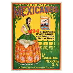 Original Vintage Poster Mexicanos Cigarrillos Quality Cigars Cigarettes Tobacco