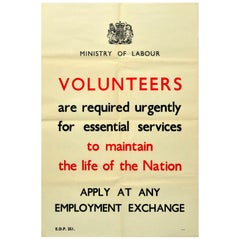 Original Vintage Poster Ministry Of Labour Volunteers Employment WWII Home Front