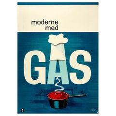 Original Vintage Poster Moderne Med Gas MidCentury Modern Danish Design Cook Pot