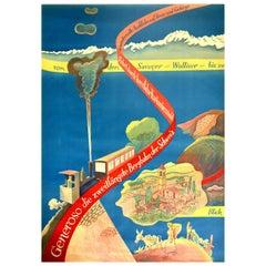 Original Vintage Poster Monte Generoso Railway Valais Swiss Alps Mountain Train