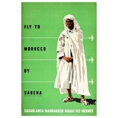 Original Vintage Poster Morocco By Sabena Casablanca Marrakech Rabat Fez Meknes