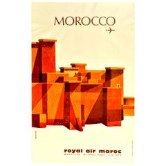 Original Vintage Poster Morocco N. Africa Royal Air Maroc International Airlines