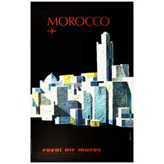 Original Vintage Poster Morocco Royal Air Maroc Moroccan International Airlines