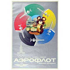 Original Vintage Poster Moscow Olympic Games Aeroflot Soviet Airlines Misha Bear