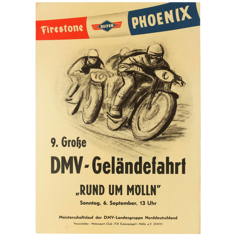 Original Vintage Poster Motocross DMV Gelandefahrt Rund Im Molln Motorcycle Race