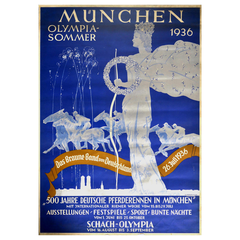 Original Vintage Poster Munich Olympic Summer Festival Horse Racing Chess Sport