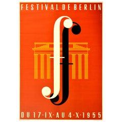 Original Vintage Poster Music Festival De Berlin Midcentury Design Brandenburg F