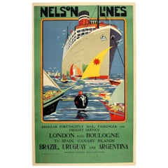 Original Vintage Poster Nelson Lines Highland Loch Ship Europe S. America Travel