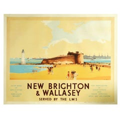 Original Vintage Poster New Brighton & Wallasey Fort Perch LMS Railway Liverpool