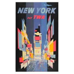 Original Vintage Poster New York Fly TWA Times Square Jet Plane Abstract Design