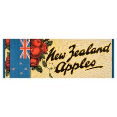 Original Vintage Poster New Zealand Apples NZ Flag Fruit Food Advertising Design
