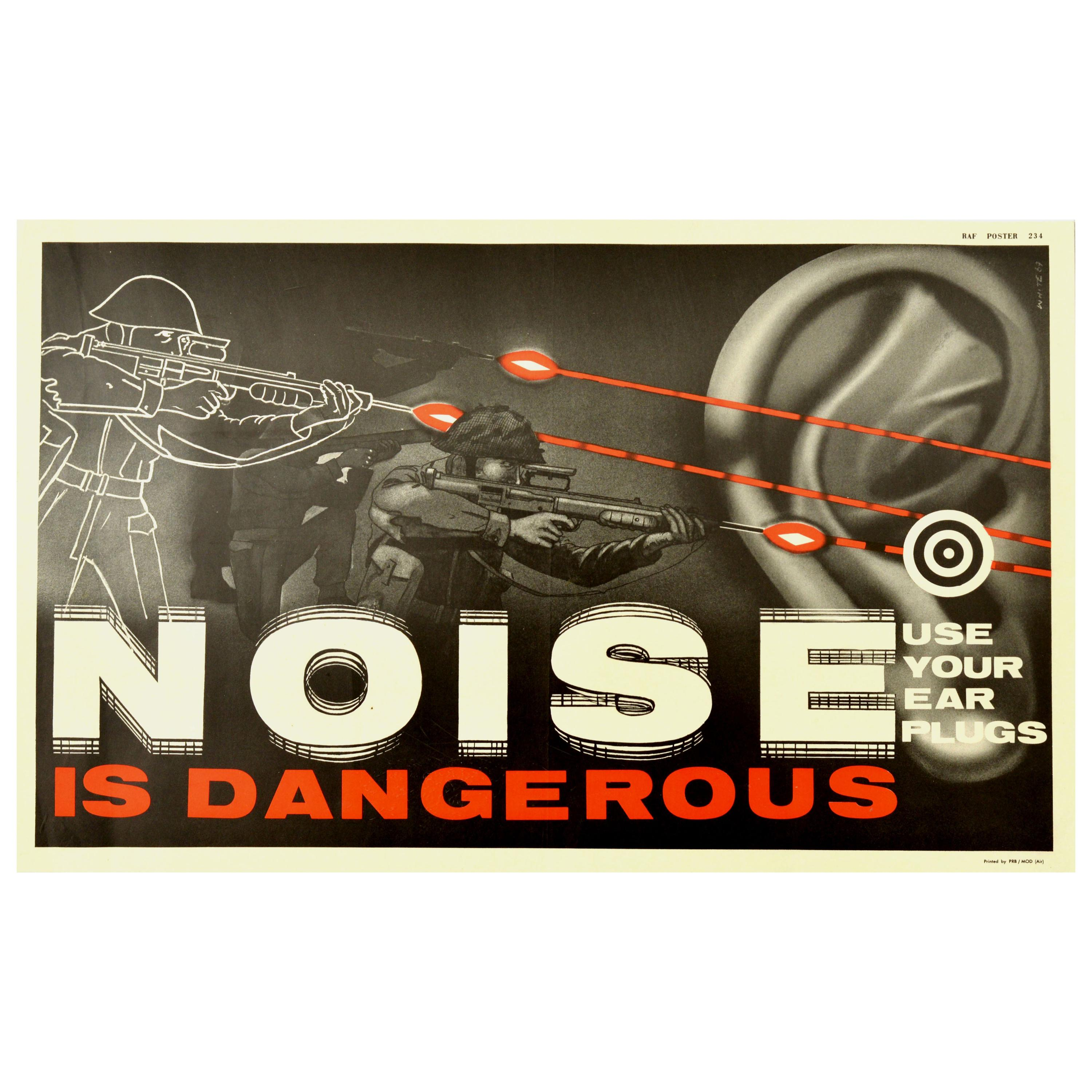 Original Vintage Poster Noise Is Dangerous Royal Air Force Health Safety Warning