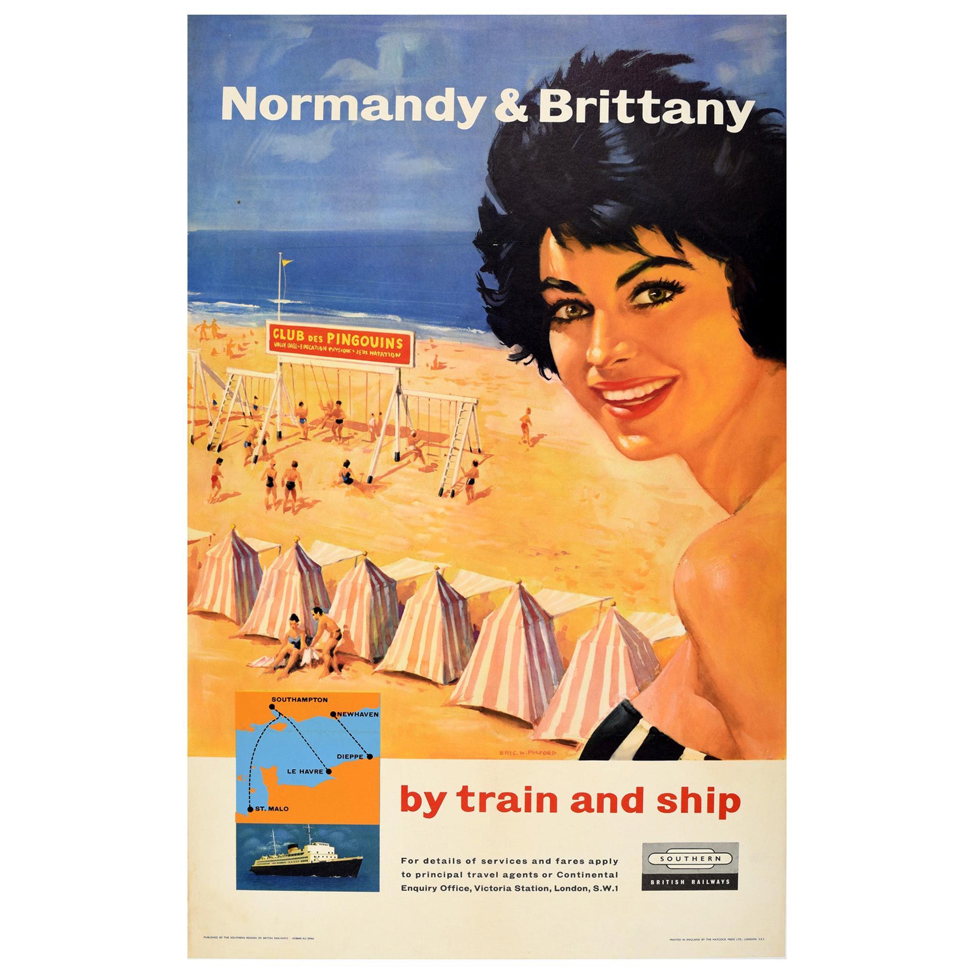 Original Vintage Poster Normandy Brittany Train Ship British Railways Travel Sea