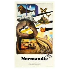 Original Vintage Poster Normandy By Dali For SNCF Normandie French Railways Art