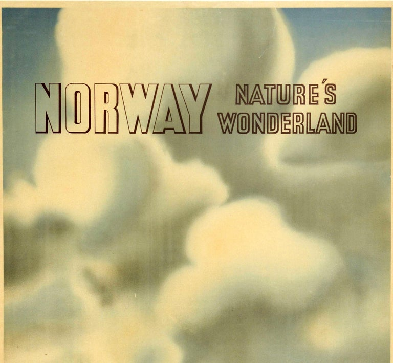 Original vintage travel poster for Norway Nature's Wonderland featuring a scenic image of a couple on top of a hill pointing to trees and mountains in the distance with the stylized lettering above in front of clouds in the background. Published by