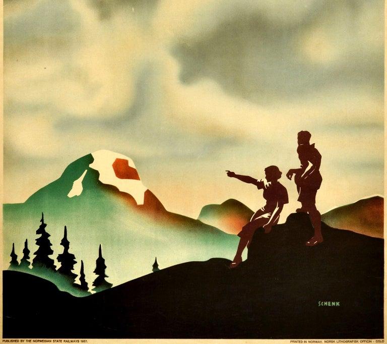 Norwegian Original Vintage Poster Norway Nature's Wonderland State Railway Travel Hiking For Sale