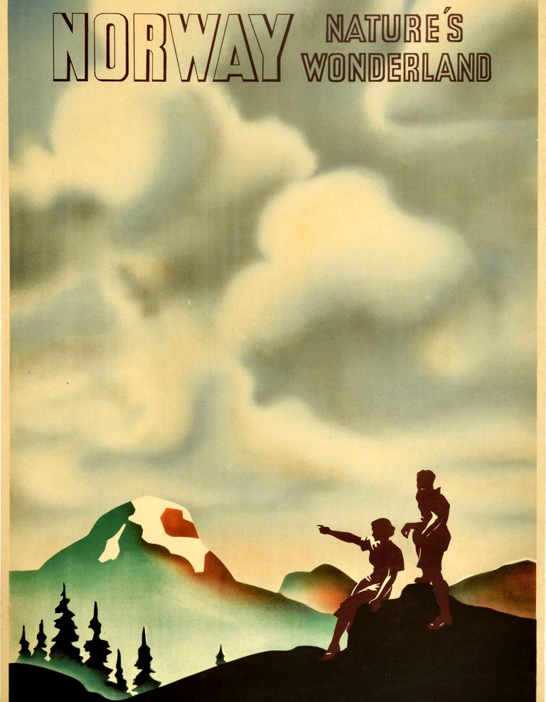 Original Vintage Poster Norway Nature's Wonderland State Railway Travel Hiking In Good Condition For Sale In London, GB
