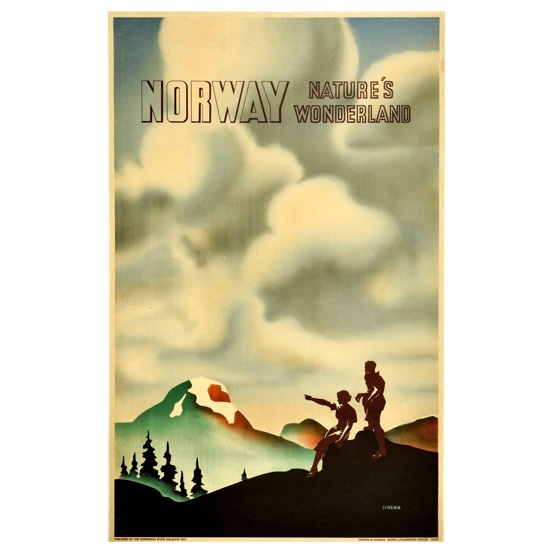 Original Vintage Poster Norway Nature's Wonderland State Railway Travel Hiking