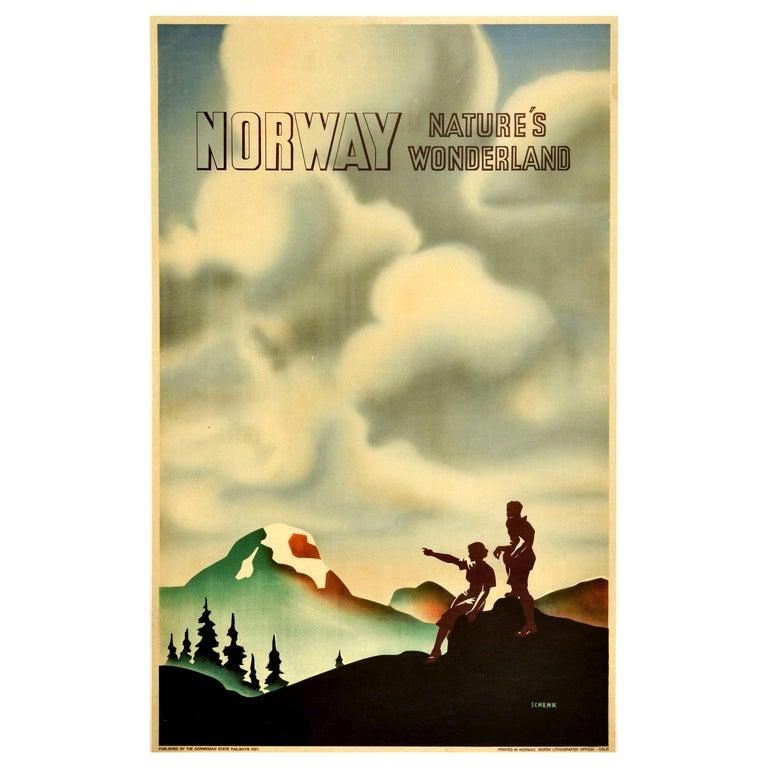 Original Vintage Poster Norway Nature's Wonderland State Railway Travel Hiking For Sale