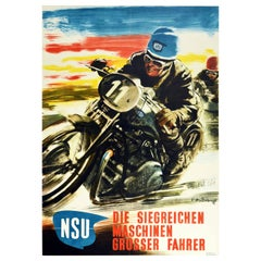 Original Vintage Poster NSU Motorcycle Racing Victorious Machines Great Drivers