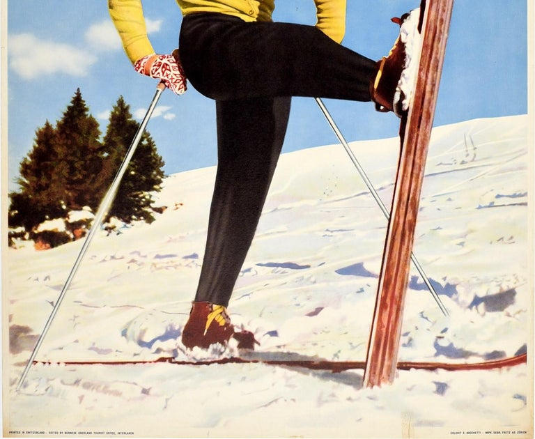 Swiss Original Vintage Poster Oberland Bernese Switzerland Winter Sport Skiing Travel For Sale