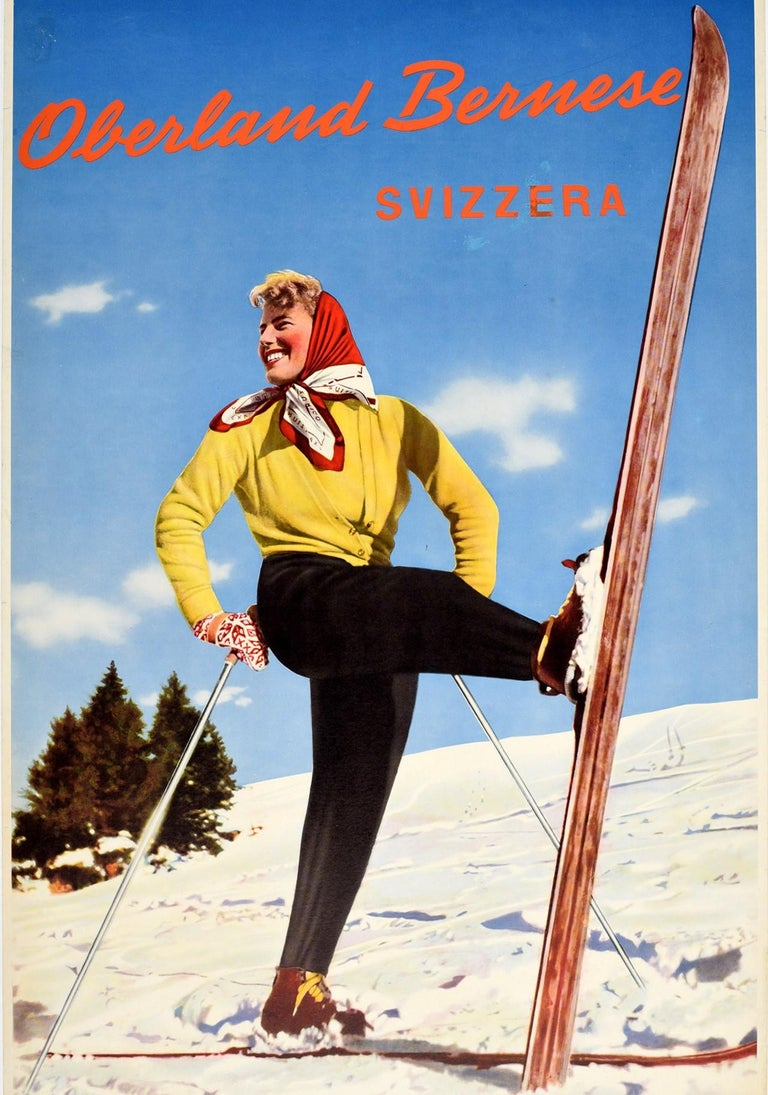 Original Vintage Poster Oberland Bernese Switzerland Winter Sport Skiing Travel In Good Condition For Sale In London, GB