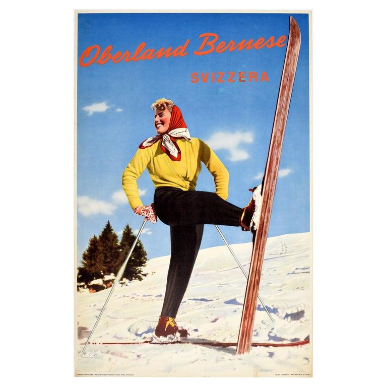 Original Vintage Poster Oberland Bernese Switzerland Winter Sport Skiing Travel For Sale