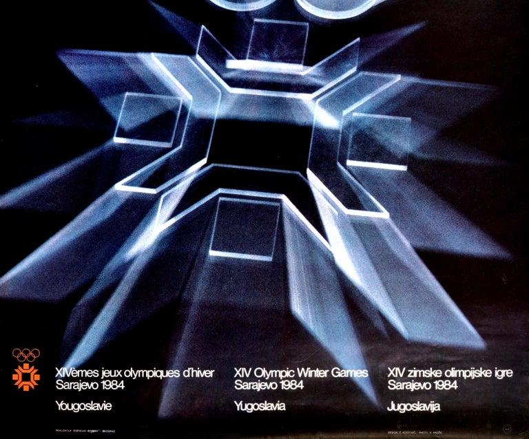 Macedonian Original Vintage Poster Olympic Games Sarajevo 84 Olympics Winter Sport Design For Sale