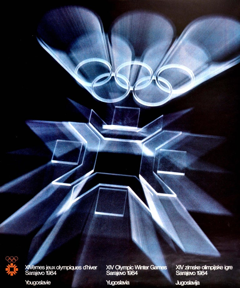 Original Vintage Poster Olympic Games Sarajevo 84 Olympics Winter Sport Design In Good Condition For Sale In London, GB