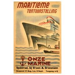 Original Vintage Poster Onze Marine Navy Maritime Exhibition Liner War Ship Boat