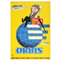 Original Vintage Poster Orbis Travel Agency Poland Tourism World Polish Design