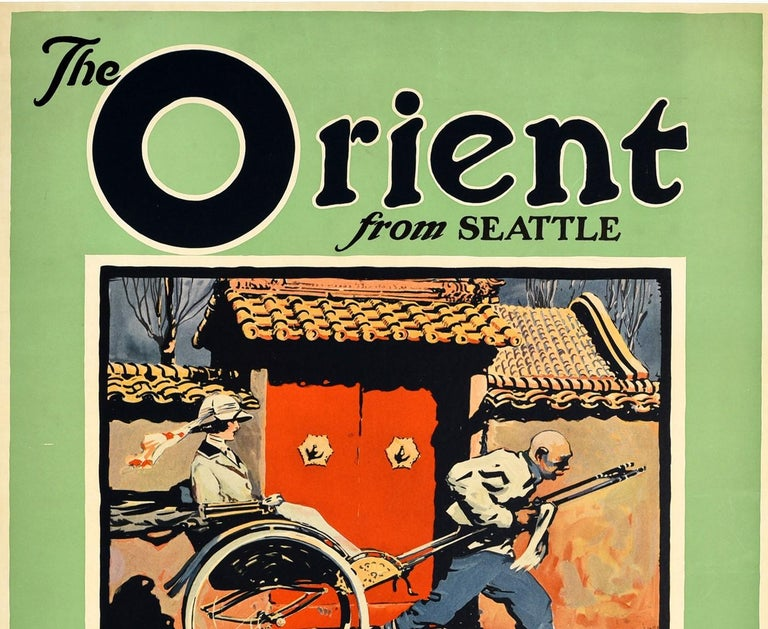 Original vintage trans Pacific cruise travel poster advertising The Orient from Seattle American Oriental Mail Line operated by Admiral Oriental Line for the United States Shipping Board featuring colourful artwork showing a man running at speed as