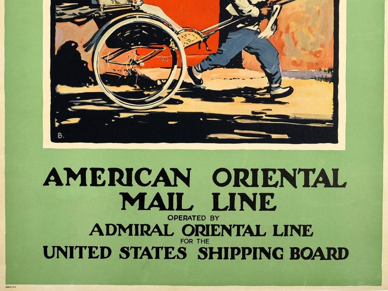 American Original Vintage Poster Orient From Seattle Far East Asia Cruise Line Travel Art For Sale