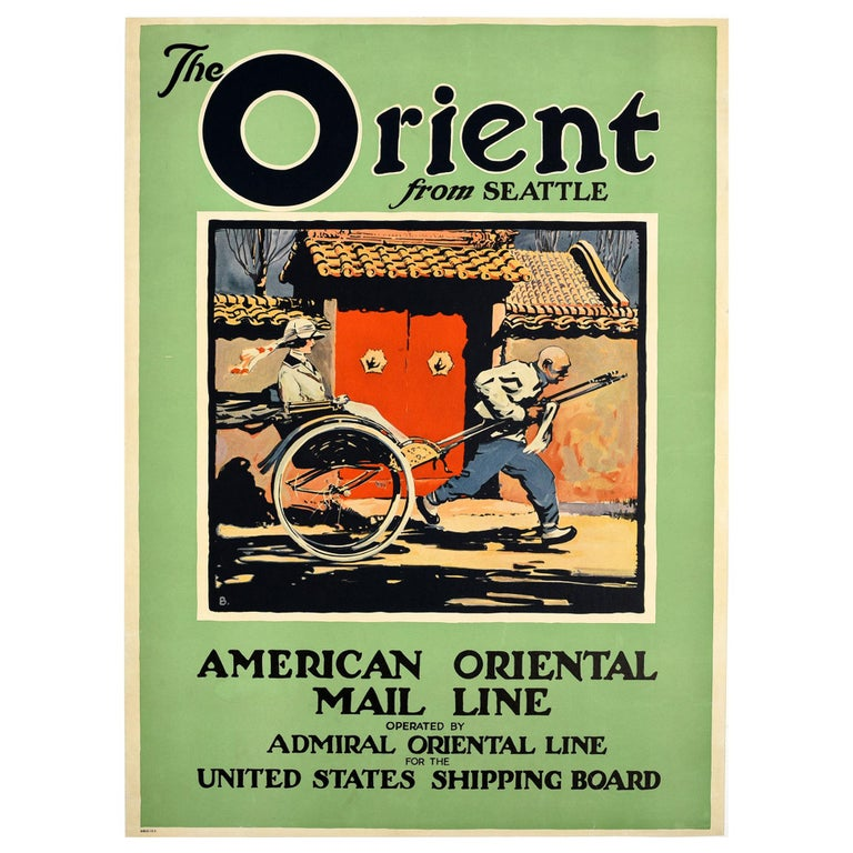 Original Vintage Poster Orient From Seattle Far East Asia Cruise Line Travel Art For Sale