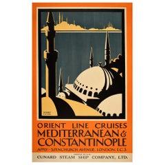 Original Vintage Poster Orient Line Cruises Mediterranean Constantinople Cunard