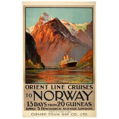 Original Vintage Poster Orient Line Cruises To Norway Fjord Travel Art Cunard US