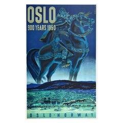 Original Vintage Poster Oslo 900 Years Viking King Horse Norway Railway Travel
