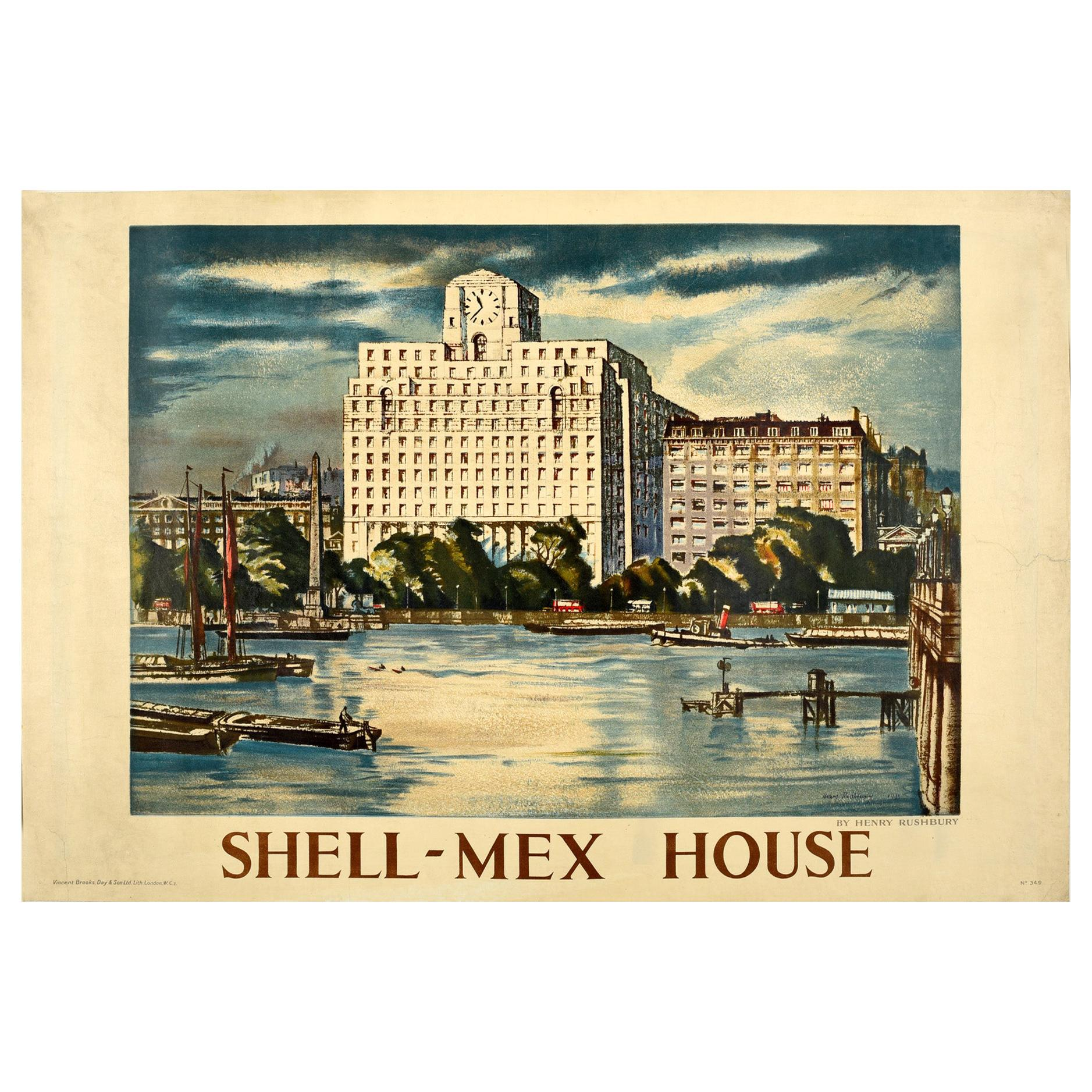 Original Vintage Poster Painting Of Shell-Mex House River Thames London BP Shell