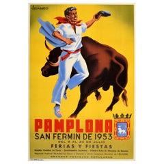 Original Vintage Poster Pamplona San Fermin 1953 Ferias Y Fiestas Festival Spain