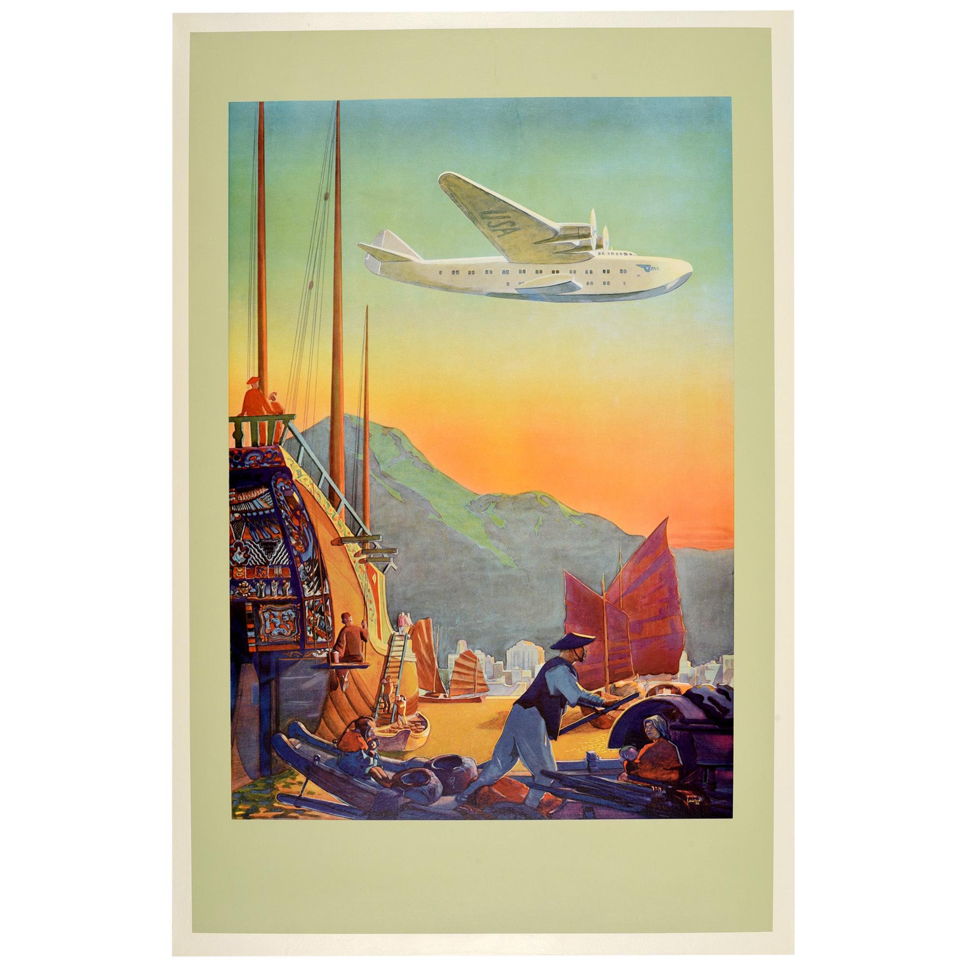 Original Vintage Poster Pan American Air Travel Hong Kong Far East Sea Plane USA