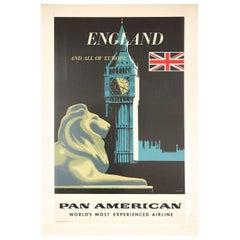 Original Vintage Poster Pan American Airline Travel England Europe London Design