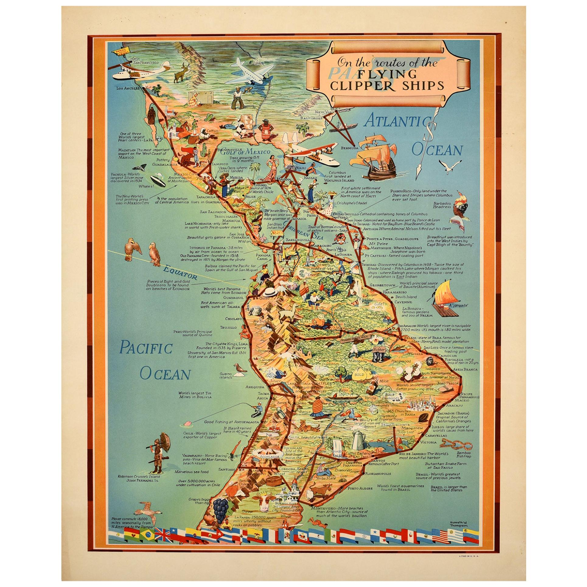 Original Vintage Poster Pan American PAA Flying Clipper Travel Map South America