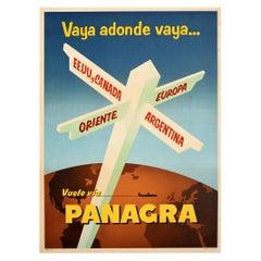 Original Vintage Poster Panagra To USA Canada Europe Argentina Orient Air Travel