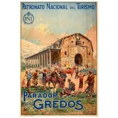 Original Vintage Poster Parador De Gredos Spain Travel Art Sierra Mountains PNT