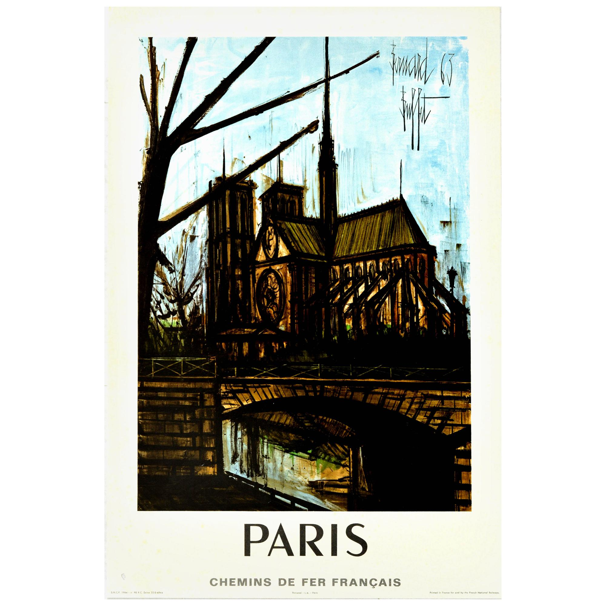 Original Vintage Poster Paris Notre Dame River Seine French Railway Travel Art