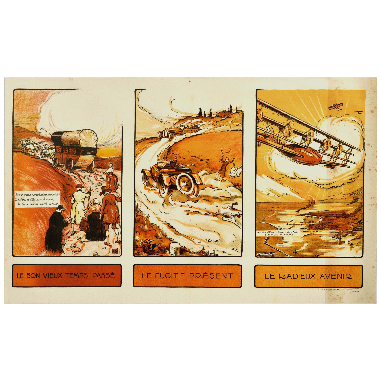 Original Vintage Poster Past Present Future Aviation Air Travel Horse Car Plane